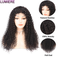 Lumiere Hair 360 Lace Frontal Wig Peruvian Kinky Curly 100% Human Hair Wigs Pre-Plucked With Baby Hair Remy Natural Black 150%(China)