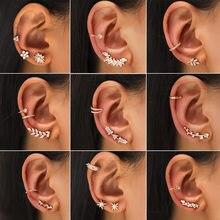 2021 Korean Fashion Geometric Crystal Clip-on Earrings. Women's Shiny Jewelry Piercing. Cute Zircon Non-perforated Jewelry.