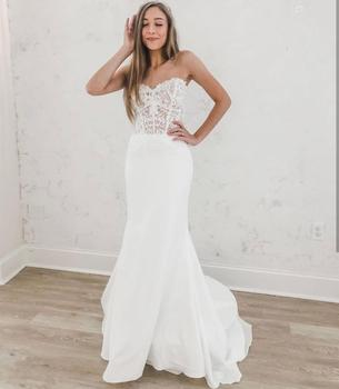 2020 Wedding Dress Mermaid Sweetheart Floor Length Lace Appliques Court Train  Organza White Graceful Bridal Gowns For Women