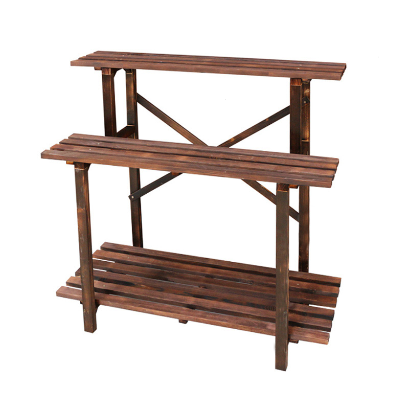Anticorrosive Flower Rack Woodiness Indoor Carbonization Multi-storey Flowerpot Flower Rack Zi Shi Wooden Frame Countryside