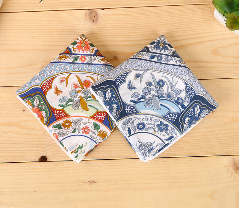Cotton Blue And White Porcelain Hip Hop Paisley Bandanas Head Wrap Headwear Handkerchief Vintage For Male Female Head Scarf