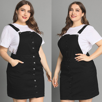 6XL Overall Suspenders Dress Button Overalls Denim Plus Size Dress Women Vintage Black Dresses Pocket Adjustable Summer Dress plus button up pocket front pinstripe cami dress