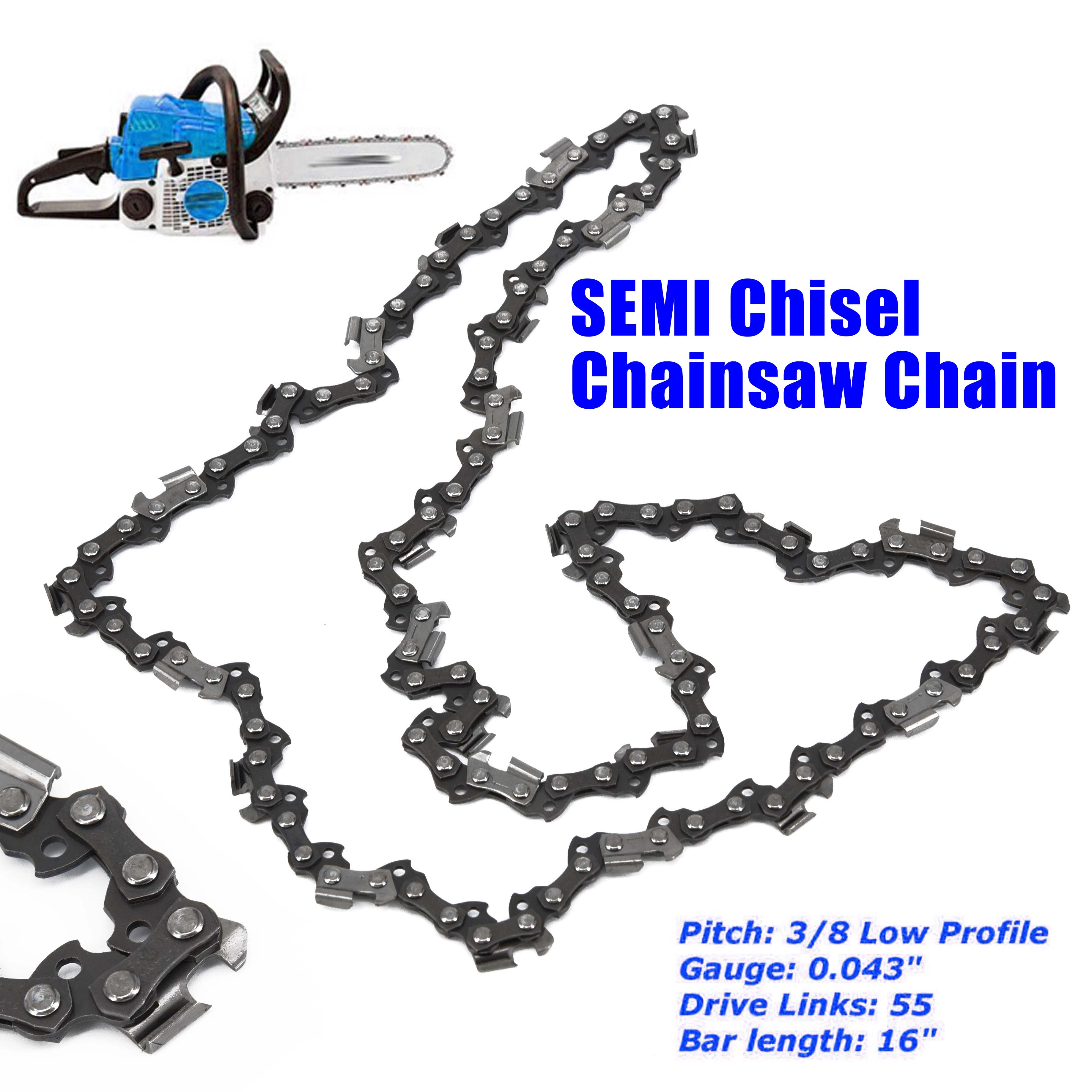 16/'/' Chain for Most Stihl 3//8 043 Gauge 55 Driver Chainsaw Bar SEMI Chisel Tool