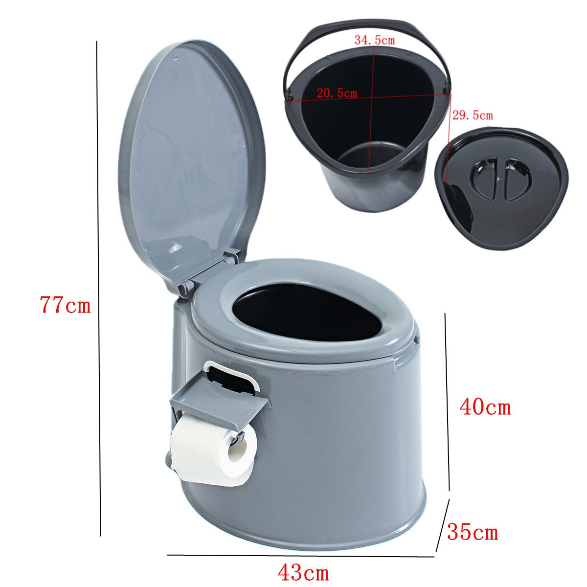 Portable Toilet Potty Commode Flush for the Elderly Travel Camping Hiking Outdoor Assists Disabled Elderly or