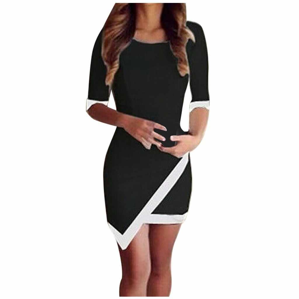 שמלת נשים O-צוואר מוצק צבע חצי ארוך שרוול אחוי סדיר מקרית מיני שמלות ארוך שרוול 2020 אביב סתיו שמלה # YL5
