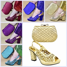 High class coffee high heel pumps shoes matching with evening bag set for fashion lady Blue,Purple,Red Gold 528-1 red wedding pu leather fashion new african shoes and bag set for party italian shoes with matching bag new design ladies bag