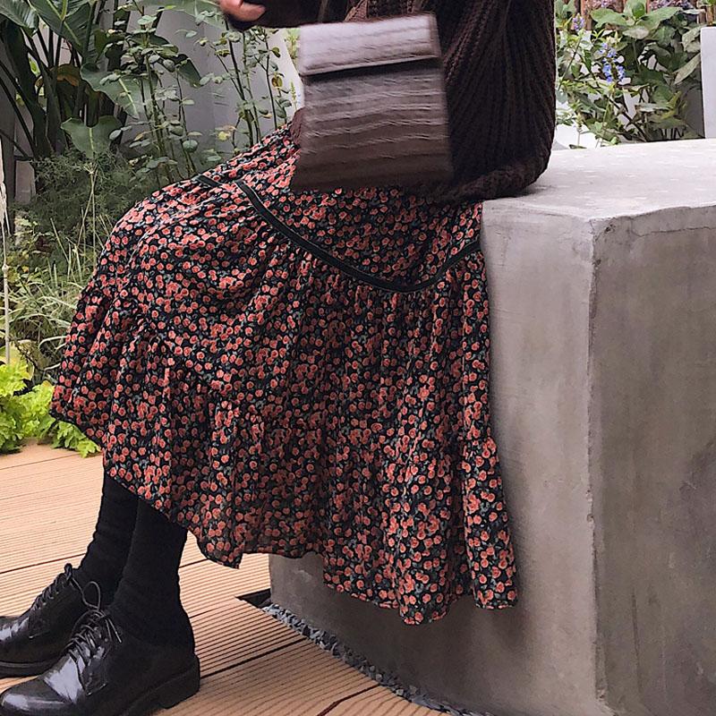 Women Flower Long Skirts Summer Beach Sunny Female Skirts Floral Print Cotton Blend A Line Skirt Femme