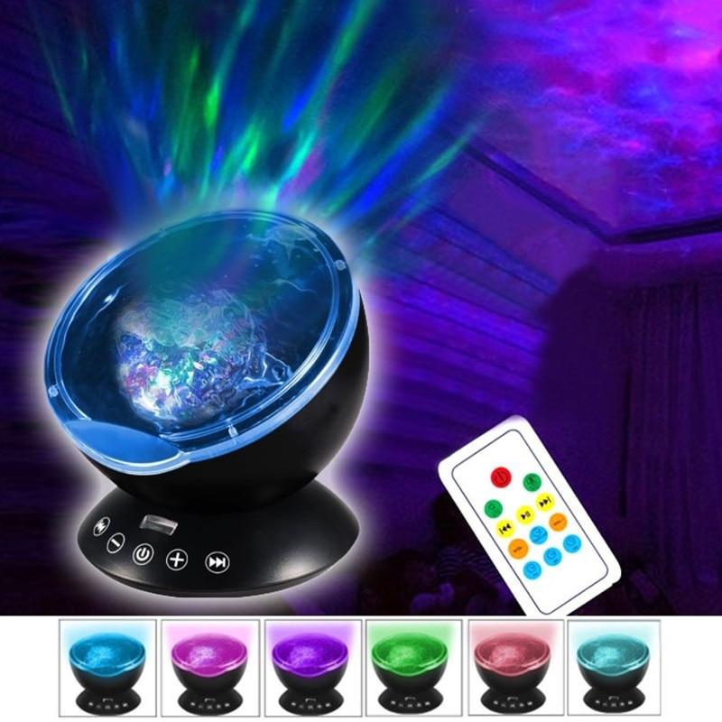 Wave Night Light Starry Sky Aurora AGM Ocean LED Projector Luminaria Novelty Lamp USB Lamp Nightlight Illusion For Baby Children