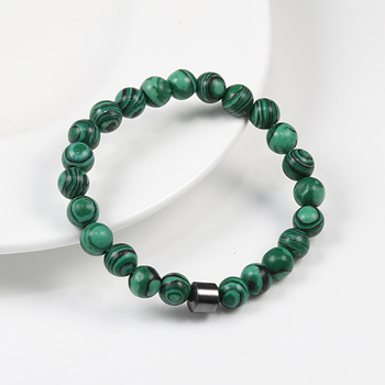 Pulseiras & Bangles Bracelet Malachite Stretch Beaded Classic Wrist Alloy Accessories hombre Nature Stone Homme Yoga man Jewelry
