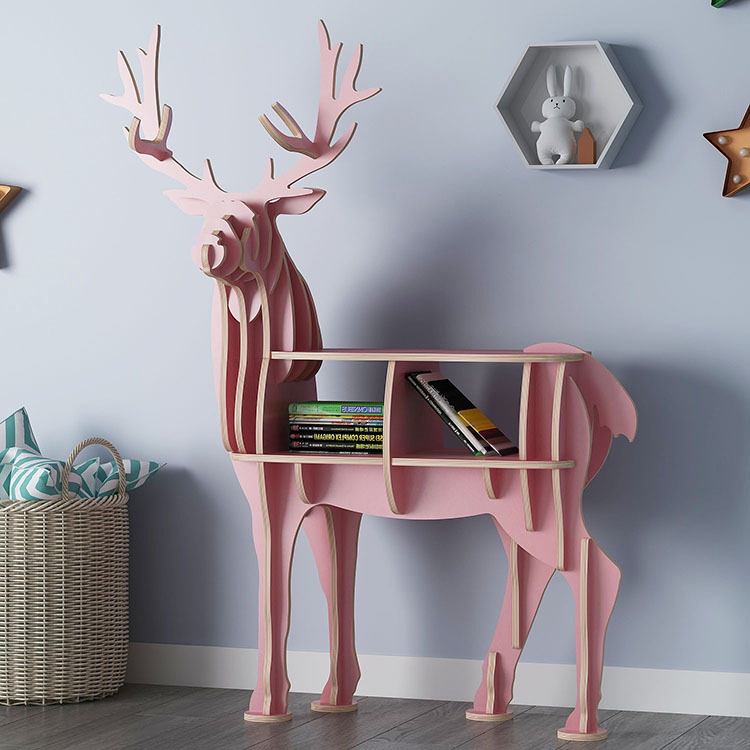 Creative Bookshelf Floor Rack Elk Styling Bookcase Shopping Window Tea room Hall Cabinet Nordic style Bookcase  Shelf Wooden|  - title=