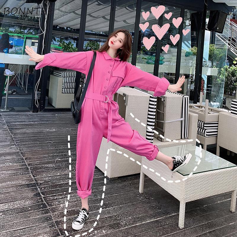 Jumpsuits Women Denin Solid Korean Style Loose BF Womens Chic Pocket Trendy Adjustable Retro Ulzzang All-match Streetwear New
