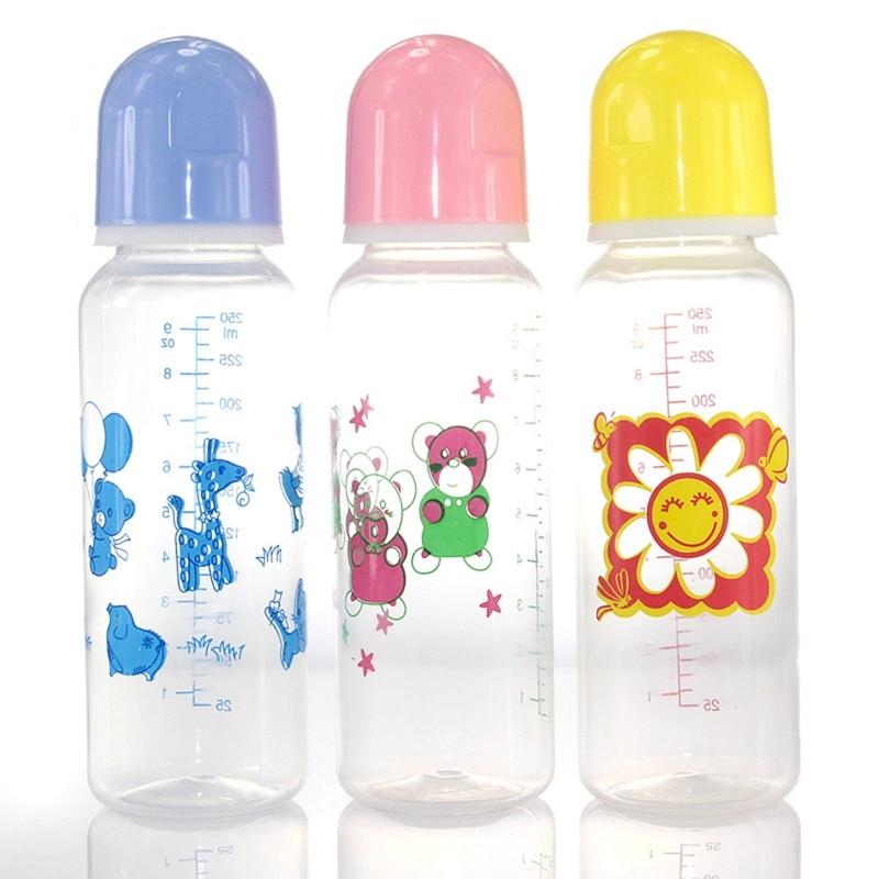 250ml Cute Baby Bottle Infant Newborn Children Learn Feeding Drinking Bottle Kids Standard Caliber PP Bottles Color Random