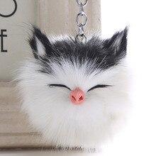 Cute smile cat hair ball key ring pendant imitation rabbit animal ladies bag car