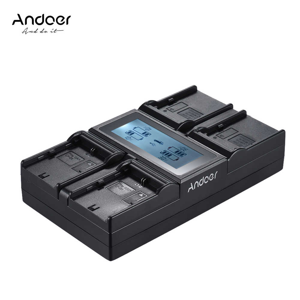 Andoer LP-E6 LP-E6N NP-F970 4-Kanaals Digitale Camera Batterij Oplader LCD voor Canon 6D 7DII 80D 5D Serie Sony NP-F550 F750 etc