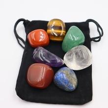 7pcs/Set Reiki Natural Stone Tumbled stone Irregular Polishing Rock Quartz Yoga Energy Bead For Chakra Healing Decoration