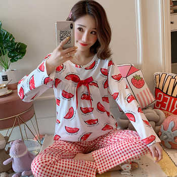 Autumn Women Comfortable Cotton Cute Pajama Set long Sleeve Sleepwear Suit Girl Print Pyjama Set Womens Nightshirt Sets Outwear