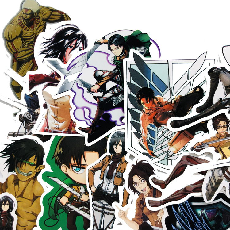 42Pcs/lot Japanese Anime Attack On Titan Mikasa Levi Eren Stickers For Car Phone Luggage Laptop Bicycle Decal Sticker Free Ship