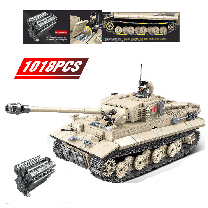 2020 New Military German Tiger 131 Tank Building Blocks  Army WW2 Soldier Weapon Bricks Education Toys For Boys