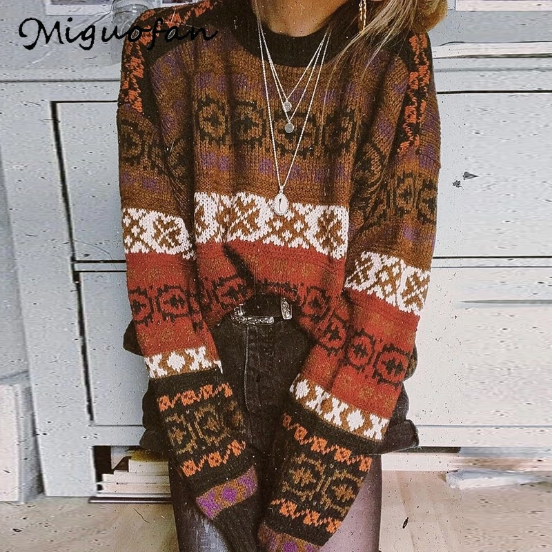 Miguofan Winter Sweaters Vintage Plus Size Maxi Knitted Pullovers Striped Sweaters Long Sleeve Jumpers Female Tops Boho Sweater