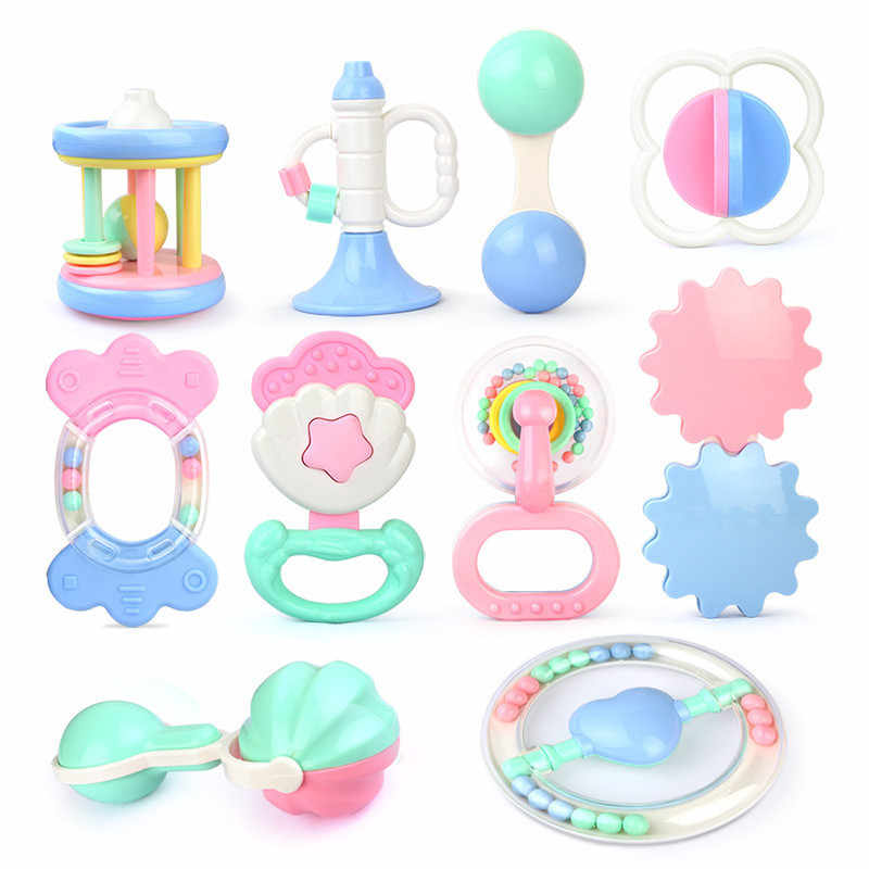 Safety Plastic Trumpet Baby Rattles Mobiles Infant Handbell Collide Sounding Hand Bell for Newborn Baby 0- 24 Months Teether Toy