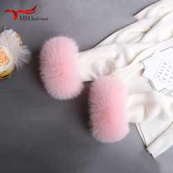 Real fox fur cuffs winter new clothes arm warmers natural fur wristbands fashion of colors can be customized sleeve sleeves 1