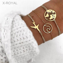 X-ROYAL 3Pcs/set Alloy Map Plane Charm Women Fashion Bracelets Classic Gold Lobster Clasps With 5cm Extended Chains