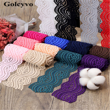 2Meter Colorful Acrylic Yarn Elasticity Lace Trims Edge Sexy Underwear Skirt DIY Sewing Crafts 5.4cm Width