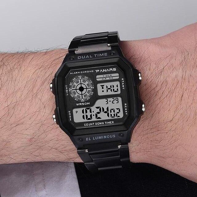 PANARS Watch Men Women Sport Relogio Masculino Digital Watches Chronograph Waterproof Watch Stainless Wristwatches Male Clock 1
