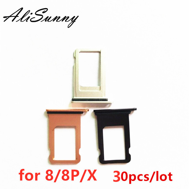 AliSunny 30pcs SIM Card Tray Holder Slot voor iPhone 8 Plus X 8 P 8G SIM Card Adapter waterdichte Afdichting Vervangende Onderdelen