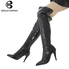 BONJOMARISA New Plus Size 31-48 Black OL Over The Knee Boots Sexy Thigh High Boots Women 2019 Pointed Toe High Heels Shoes Woman