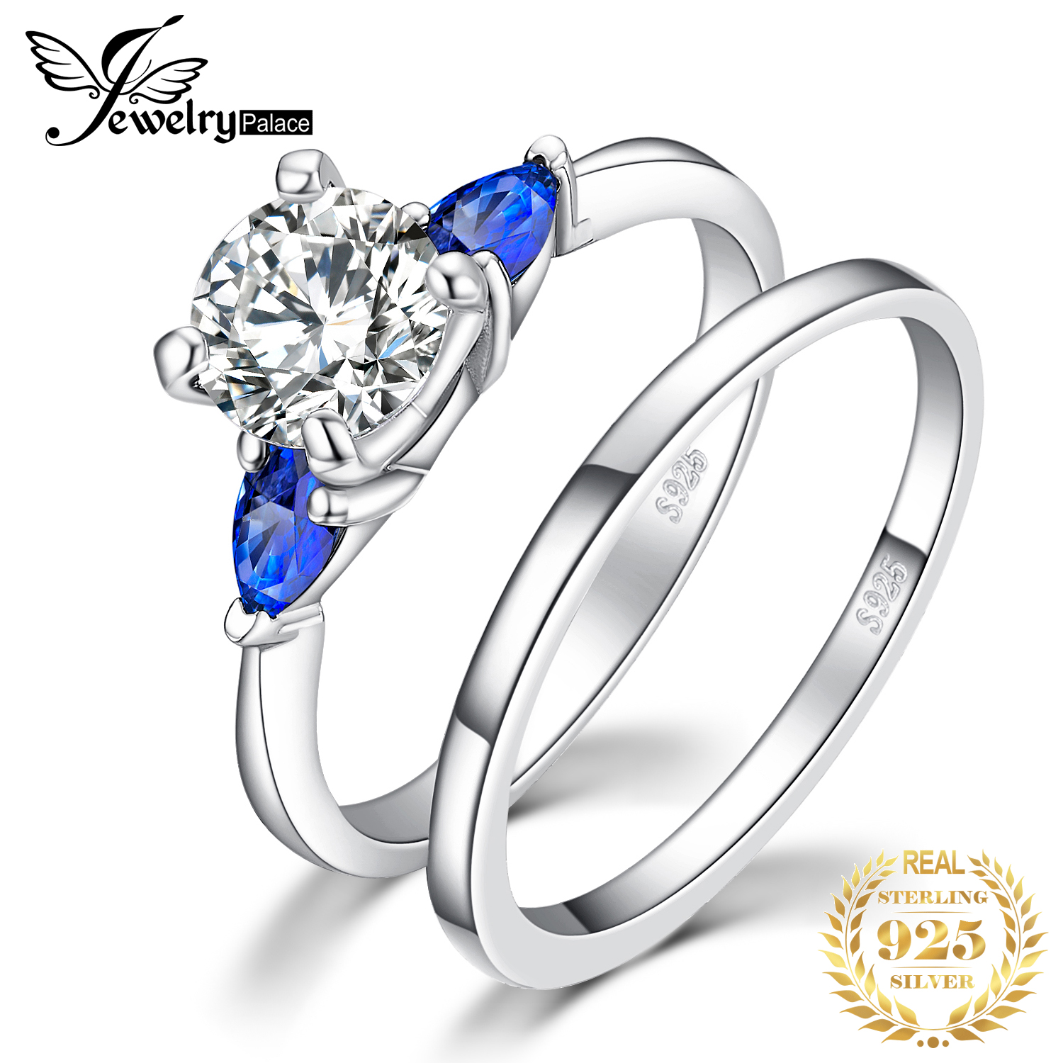 JPalace 3 Stone Created Sapphire Engagement Ring 925 Sterling Silver Rings For Women Wedding Rings Bridal Set Silver 925 Jewelry
