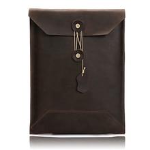 Document-Bag Folder Pocket School-Supplies Elastic Office Portable Genuine-Leather