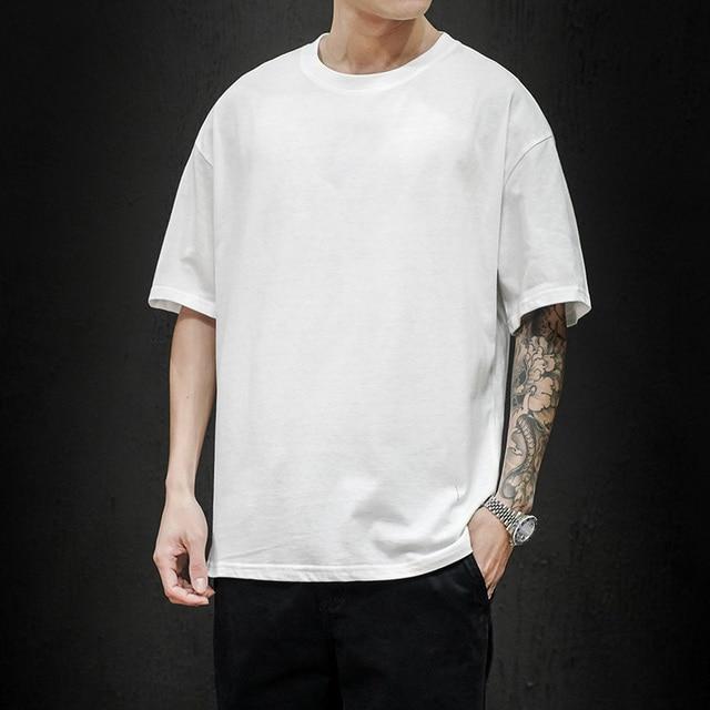 New Summer Men's T Shirt 2021 Fashion Solid T Shirt Mens Oversized Hip Hop Short Sleeve Casual Cotton Mens Streetwear Top Tees 4