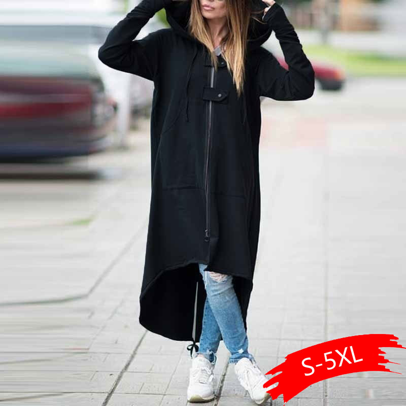 Fashion Long Sleeve Hooded Trench Coat 2019 Autumn Black Zipper Plus Size 5XL Velvet Long Coat Women Overcoat Clothes