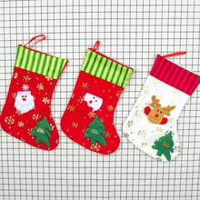 Christmas Stockings Gift Holder Xmas Bag Tree Hanging Pendant Printed Party Ornaments Decorations