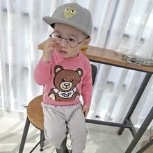 Детский свитер с изображением игрушечного медведя Новое поступление осенне-зимних стильных свитеров из чистого хлопка для мальчиков и девочек модели в Европе