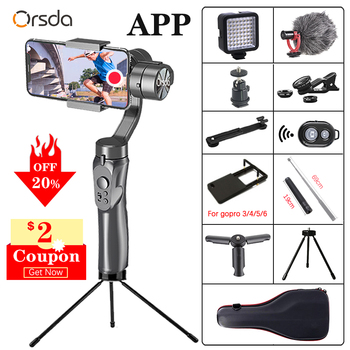 Orsda APP H4 3-axis estabilizador cardán Gopro Cámara estabilizador shandheld trípode/palo selfie para smartphone conexión Bluetooth