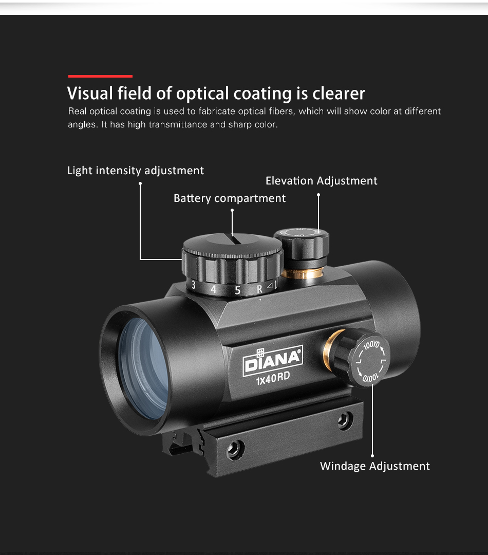 3x44 verde red dot sight scope tático