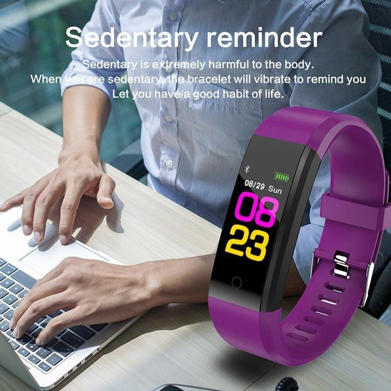 115plus Waterproof Smart Band Health Bracelet Heart Rate Blood Pressure Fitness Tracker for Smartband Wristband Smart Watch