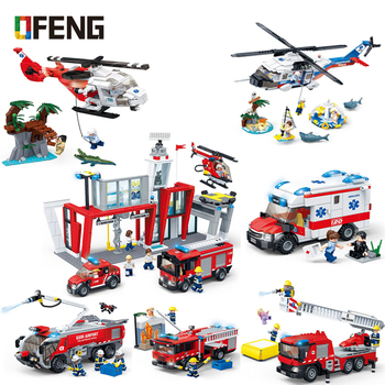 Fire Engine Fire Station Brigade Rescue Helicopter City Building Blocks Ladder Fire Truck Ambulance Bricks Kits Toys Gifts