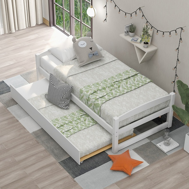 Wood Bed w/ Sliding Trundle Bed  4