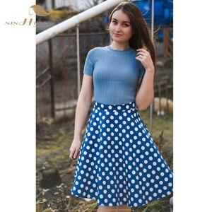 Image 5 - SISHION Vintage Skirts Womens VD0020 jupe femme 2020 High Waist Cotton Swing Retro Women Skirt Black Plaid faldas Summer Skirt