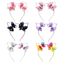 6 Pcs/Lot  Unicorn Print Bow Knot Hair Band Cute Cat Ribbon Glitter Stain Hoop Boutique Accessories