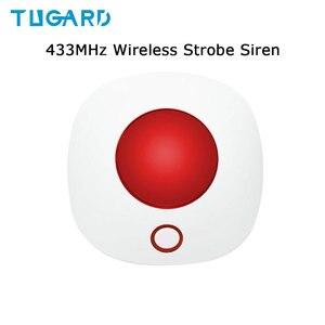 Image 1 - מקורה צופר סירנה 433MHz אלחוטי מהבהב Strobe סירנה אור סירנה עבור WIFI GSM בית מעורר מערכת ביטחון אדום צבע