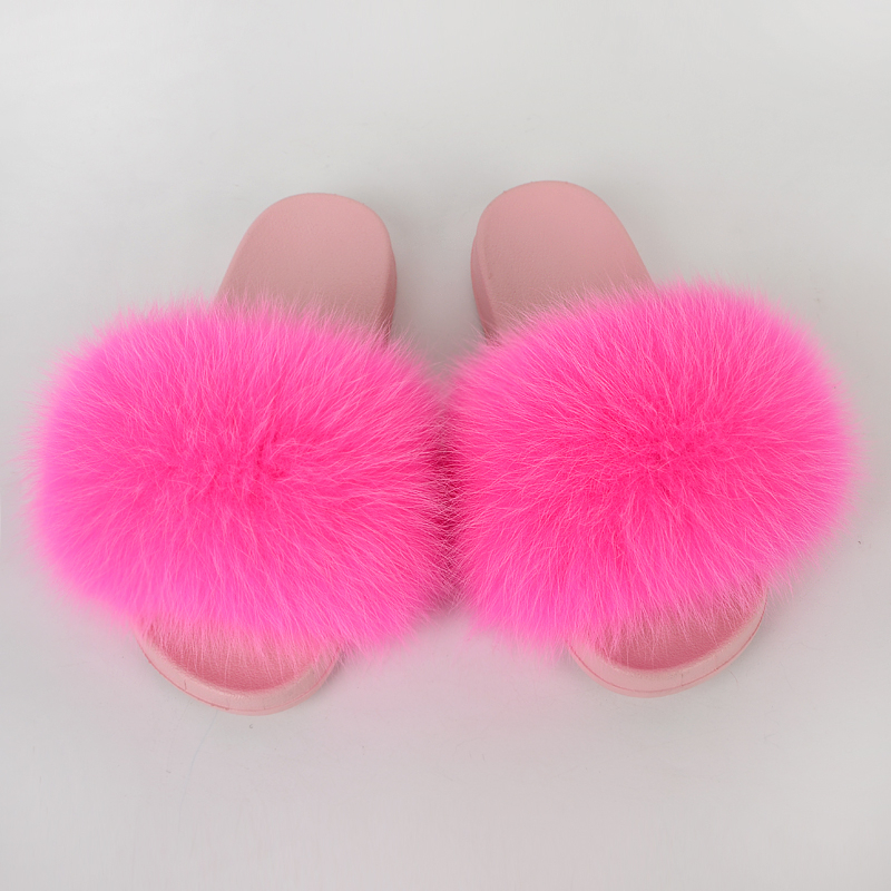 Women Shoes Home Fur Slippers Summer Flip Flops House Furry Slides Indoor Real Fur Fox Flat Ladies Sandals Adult Mules New 2020