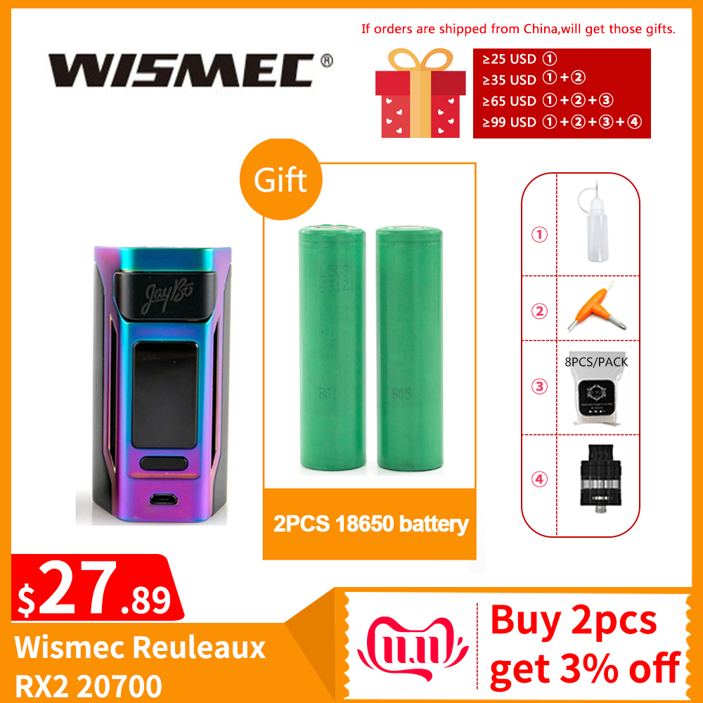 [RU/US] Clearance Original Wismec Reuleaux RX2 20700 TC Box Mod Output 200W VW/TC/TCR Mode 18650 Battery Electronic Cigarette