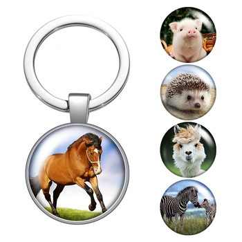 Animal Horse zebra Hedgehog glass cabochon keychain Bag Car key chain Ring Holder silver color keychains for Men Women Gifts
