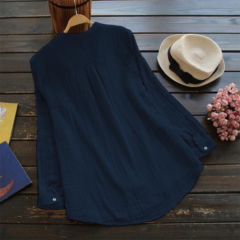 Cotton and Linen Long Sleeve Lady Shirt Women Blouse Shirt Loose Casual Women Turtleneck Shirt Office Lady Shirt Plus Size 5XL Women Women's Blouses Women's Clothings