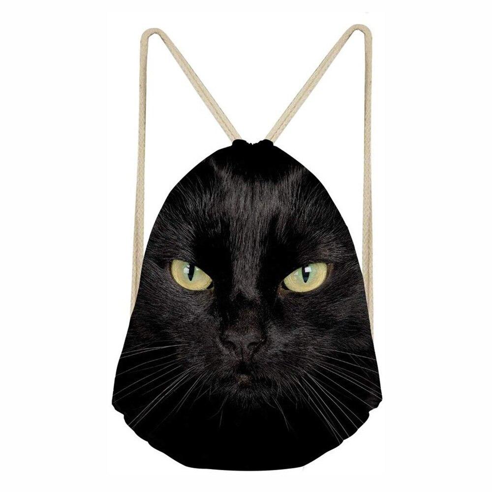 Cat Drawstring Bag 3D Print Children Backpacks For Teenager Boys Girls Small Storage String Bags Daily Backpack Mochila Black