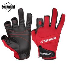 SeaKnight SK03 Sport Winter Fishing Gloves 1Pair Lot 3 Half-Finger Breathable Leather Gloves Neoprene amp PU Fishing Equipment cheap Fishing Gloves SK03 Anti-Slip Half Finger L XL XXL 8 5-9 5cm 9 0-10 0cm 9 5-10 5cm about 43-60g Black Red Neoprene cloth and PU leather